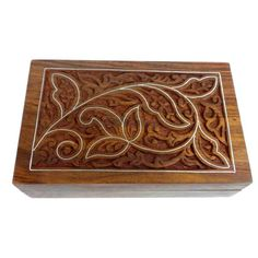 Handcrafted Carved Sheesham Wood Box with Pewter Inlay (India)