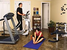 On rainy days, the exercise room with treadmill, elliptical trainer, weights set, and bench will help keep any exercise program on track. An adjacent full bathroom and laundry room allow a busy owner to clean up quickly. (Photo: Photo: Tria Giovan; Stylist: Jan Gautro)