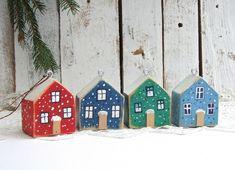 Małe domki - zawieszki - 4 sztuki Decorating, Holiday Decor, Home Decor, Dekoration, Decoration, Room Decor, Dekorasyon, Interiors, Home Interior Design