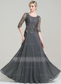 A-Line/Princess Scoop Neck Floor-Length Beading Sequins Zipper Up Sleeves 1/2 Sleeves No 2016 Other Colors General Plus Chiffon Mother of the Bride Dress