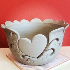 Large unfired heart design yarn bowl. Now what colours shall I glaze this?….. :-) earthwoolfire.etsy.com