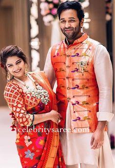 Vishnu Manchu wife Viranica Manchu in pythani silk saree and elbow blouse Half Saree Designs, Sari Blouse Designs, Indian Wedding Outfits, Indian Outfits, Indian Weddings, Kids Ethnic Wear, Saree Wedding, Punjabi Wedding, Boho Wedding