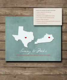 Personalized Wedding Gift, Customized Long Distance Love Print, Custom USA STATES Map with Lovehearts Print via Etsy Long Distance Relationship Gifts, Long Distance Gifts, Diy Presents, Diy Gifts, Hubby Love, Custom Map, Personalized Wedding Gifts, Bridal Gifts, Just In Case