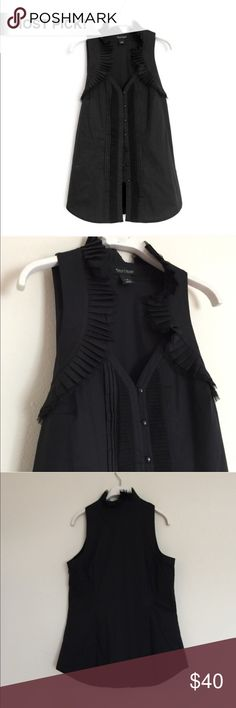 🎉HP!🎉WHBM black ruffled tuxedo sleeveless blouse Beautiful top with ruffled details around neckline and down the front. Excellent condition. Bundle to save 25%! White House Black Market Tops