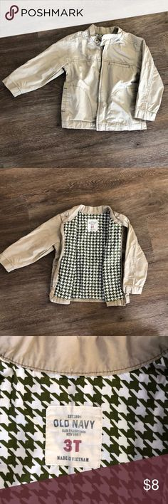 Old Navy boys khaki jacket Old Navy khaki jacket, green and white print cotton lining.  Size 3T, was used as church jacket one season, so lots of life left in this! Old Navy Jackets & Coats
