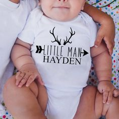 Baby boy antler Bodysuit trendy baby clothes by LineLiamBoutique