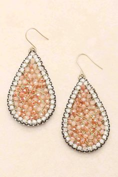 Rose Byzantine Teardrop Earrings on Emma Stine Limited   Byzantine style and gorgeously Handmade, Sparkling and Matt Rose Faceted Cut Crystals are delicately weaved into a Teardrop.
