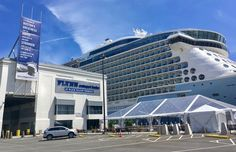 Flynn Cruiseport Boston rebranding with scrim wall and exterior signage. Design by Arrowstreet. Fabrication and installation by DCL. Exterior Signage, Cruise Port, Signage Design, Marina Bay Sands, Boston, Branding, Wall, Travel, Brand Management