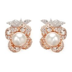 Anabela Chan 'Mini Blossom' pearl diamond pavé 18k rose gold earrings ($1,870) ❤ liked on Polyvore featuring jewelry, earrings, accessories, brincos, pink, rose gold jewelry, pave diamond earrings, pink earrings, 18k earrings and leaf earrings