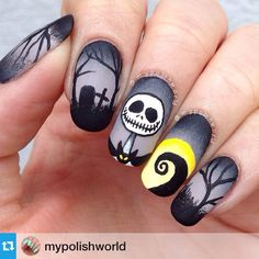 Nails by @mypolishworld ♠️ The Nightmare Before Christmas❤️ I've always wanted to paint Jack!! And since it's Halloween soon and people are already posting Halloween nails I thought it was about time I finally did it I'm really happy with my result I rarely have time for detailed work like this, and I don't think I've done nails like these before either Yayyy #Padgram Disney Halloween Nails, Holloween Nails, Halloween Halloween, Disney Nails, Nail Designs For Halloween, Easy Halloween Nails, Pedicure, Fall Nails, Get Nails
