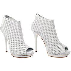 GIUSEPPE ZANOTTI Leather lattice peep toe shoe boot ($400) ❤ liked on Polyvore