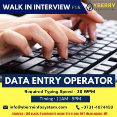 Urgent Openings For #DataEntry #Operator. Location : #Indore, MP. Contact us : +0731-4074459 EMail us : info@yberryinfosystem.com Required skills: - * Typing speed more than 30 wpm. * Ability to understand task quickly. * Graduation and good knowledge of operating computers are required. * Fresher and Experience both can apply. * Should have good communication skills. * Both shifts are available (Day & Night).