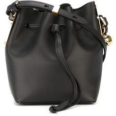 Sophie Hulme Mini Bucket Crossbody Bag (2,450 ILS) ❤ liked on Polyvore featuring bags, handbags, shoulder bags, black, black crossbody, black cross body purse, black purse, black crossbody handbag and black crossbody purse