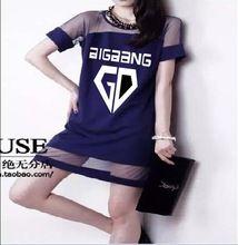 2017 kpop Bigbang membres fille d'été Gaze dress k-pop GD Sexy noir étudiant Femmes de Vêtements à manches courtes Robes Droites(China)