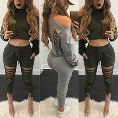 Sexy One Shoulder Cropped Casual Suit Sets