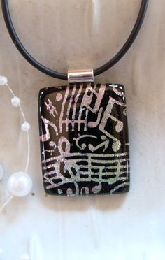 Fused Dichroic Glass Pendant Glass Jewelry Musical by myfusedglass,