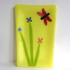 Yellow Fused Glass Platter with Dragonfly and Flowers.
