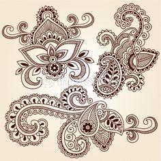 Vector Art: Henna Mehndi Tattoo Paisley Floral Doodle Vector Elements