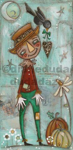 "Original Folk Art Mixed Media Canvas ""If I Give You My Heart"" available ©dianeduda/dudadaze"