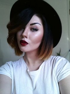 This is a very nice ombre hair color for women with round faces and thin hair. The look works are it is straight on side of the hair and curl halfway on ...