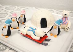 Winter Christmas 1 qty IGLOO, 2 qty polar bears, 4 qty 3D PENGUIN, 1 qty SLED for winter onederland party