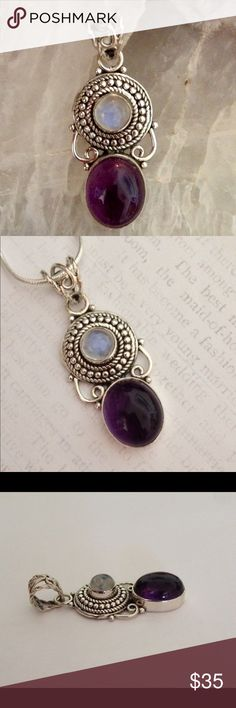 """Sterling Silver Amethyst and Moonstone Pendant Beautiful Pendant! Amethyst and Moonstone Gemstones set in a Nicely detailed Antique Sterling Silver Setting. Stamped 925z approx 1 1/2"""" Jewelry Necklaces"""