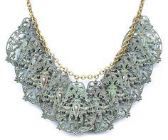 Noir Spanish Lace Necklace, Verdigris Jewelry, Accessories