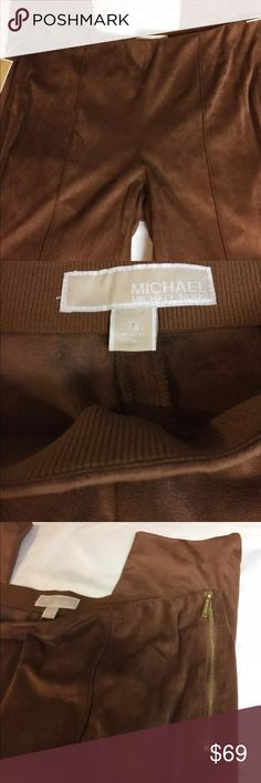 Michael Kors Faux Suede caramel pants, size 12,NWT So HOT! Surprisingly lighter fabric but it will keep you warm this winter! Beautiful pants! Michael Kors Pants