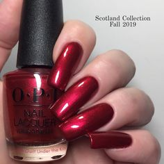 This is A Little Guilt Under the Kilt from OPI Scotland - Fall 2019 Collection - it is shimmer - opaque in 2 coats - it stamps OK on a light background, a red shimmer is visible on the dark background - it looks very good with matte top coat Fabulous Nails, Perfect Nails, Gorgeous Nails, Opi Nails, Manicure And Pedicure, Opi Red Nail Polish, Colorful Nail Designs, Nail Art Designs, Cute Nails