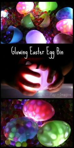 Glowing Easter Egg and Water Bead Sensory Bin #easter