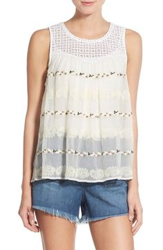 Hinge Eyelet Yoke Embroidered Tank available at #Nordstrom