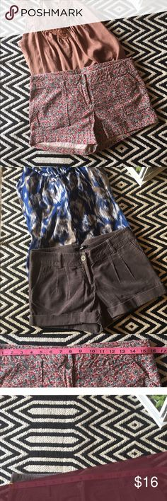 Bundle: 2 papaya shorts Good condition. Bundle: 2 papaya shorts. Flower print: size L. 100% cotton. Front and back pockets. Brown. Size M. 100% cotton. They are different cut and even though they are different size. Both fit the same. Can give additional measurements if needed. Papaya Shorts