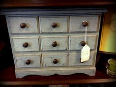 The drawers are lined with vintage sheet music! Annie sloan Provence over Aubusson Blue Annie Sloan Provence, Vintage Sheet Music, Tea Box, Annie Sloan Chalk Paint, Vintage Designs, Favorite Things, Drawers, Boxes, Random