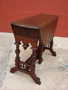 American Antique Victorian Drop Leaf Table.