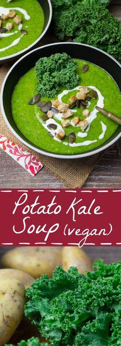 Vegan potato kale soup with celery, carrots, and leek...