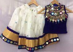Mirror Work Lehenga in White - Indian Dresses Frocks For Girls, Little Girl Dresses, Girls Dresses, Dresses For Kids, Kids Dress Wear, Kids Gown, Kids Party Wear Dresses, Dress Party, Kids Wear