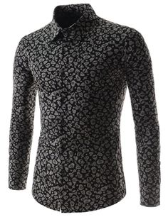Mens Slim Fit Stretchy Hound Tooth Checker Pattern Long Sleeve Shirts at Amazon Men's Clothing store: