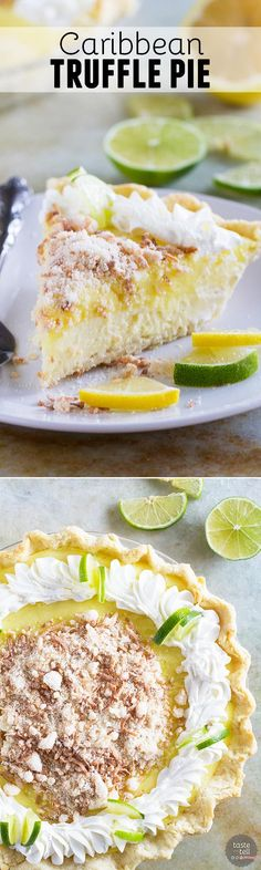 Sweet, tart and creamy, this Caribbean Truffle Pie is filled with lemon, lime and coconut flavors - the best of the tropics!: