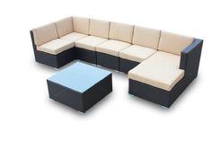 Erebos V, 7 Piece Sofa Conversation Set By Luxus Outdoor Patio Furniture Set Garden Table Chairs Wicker Home Backyard Porch Lounge Virofiber « zPatioFurniture.com