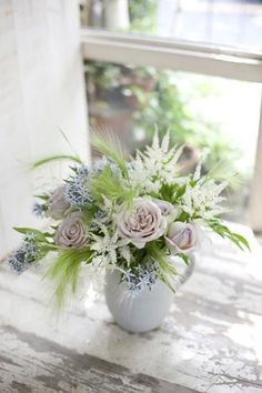 Roses, astilbe, and wisps of green make a lovely everyday arrangement #flowers #Bloompop