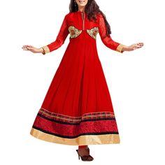 Red Georgette Salwar Kameez hanpicked for #karvachauth  #ohnineone #anarkali