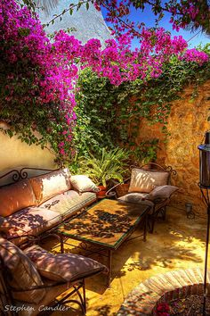 Outdoor Living, outrageously fabulous patio with one wall covered in flowers Outdoor Rooms, Outdoor Gardens, Indoor Outdoor, Outdoor Living, Outdoor Decor, Outdoor Parties, Outdoor Seating, Dream Garden, Home And Garden