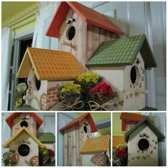 Fika a Dika Birdhouse Designs, Bird Houses Painted, House Yard, Bird Boxes, Country Paintings, Fairy Houses, Little Houses, Diy Craft Projects, Crafts