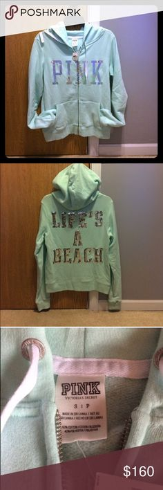 🆕. 1 of a Kind Hoodie 🆕. Uniquely Rare & Eye catching Victoria Secret Pink Mint Green Bling/Sequence Life's a Beach hoodie. 📌No Trades PINK Victoria's Secret Tops Sweatshirts & Hoodies