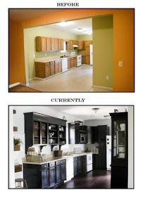 How to Renovate your Kitchen on a Budget - great post shows how this kitchen was given a whole new look with paint and mouldings and by removing cabinet doors to open up the space.  This is so inspiring!
