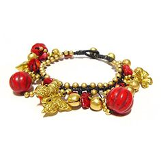 Idin Fashion Anklet - Handmade gold-tone beads, butterfly charm, bells and red coral stones woven with waxed cord anklet (approx. 23-24 cm)