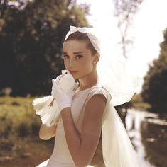 Audrey Hepburn in her 50s wedding dress.