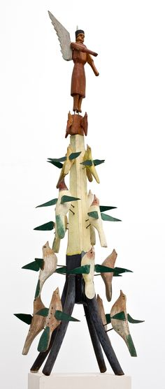 Bird Tree with Angel  Early 20th Century  Wisconsin Origin  Carved and Painted Wood  By Albert Zahn (1864-1953)  41îH x 9îW x 9îD