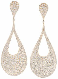 Pair of Rose Gold and Diamond Pendant-Earrings  18 kt., topped by two concave pear-shaped panels, suspending two large concave drop-shaped hoops, pave-set throughout with round diamonds approximately 12.00 cts., approximately 15 dwt.