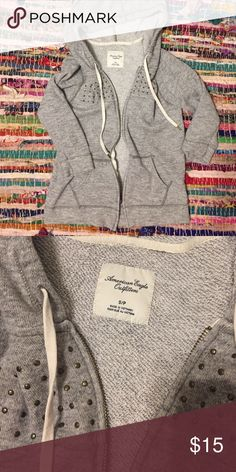 American Eagle 3/4 Zip Up Hoodie with Studs American Eagle 3/4 Zip Up Hoodie with Studs. size small. American Eagle Outfitters Tops Sweatshirts & Hoodies
